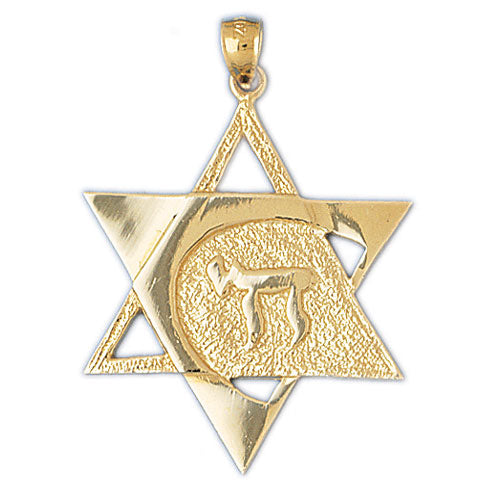 14K Gold Star of David Pendant w/Chai Life Jewelry - Mitzvahland.com All your Judaica Needs!