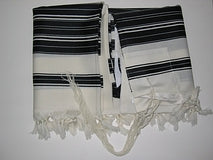 Talit Chabad Size 80 - Black  And White Stripes With Silk Lining