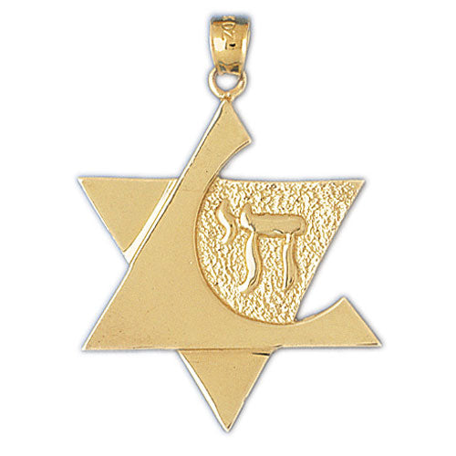 14K Gold Star of David w/Chai Pendant Jewelry - Mitzvahland.com All your Judaica Needs!