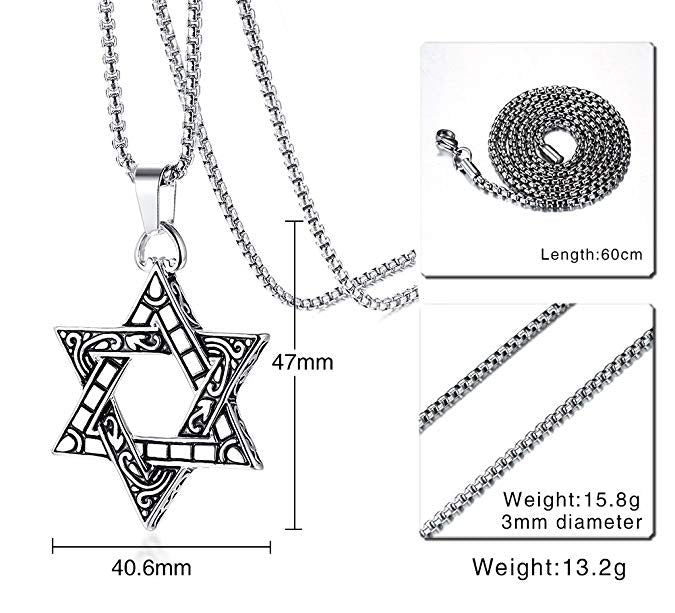 Star of David Pendent Necklace for Men, include Box Chain 24 inch