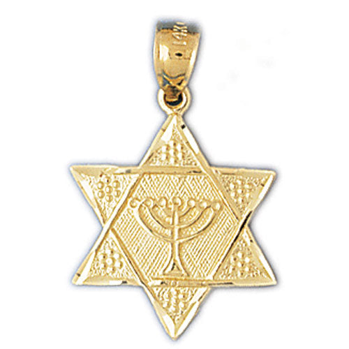 14K Gold Star of David w/Jewish Menorah Charm Jewelry - Mitzvahland.com All your Judaica Needs!