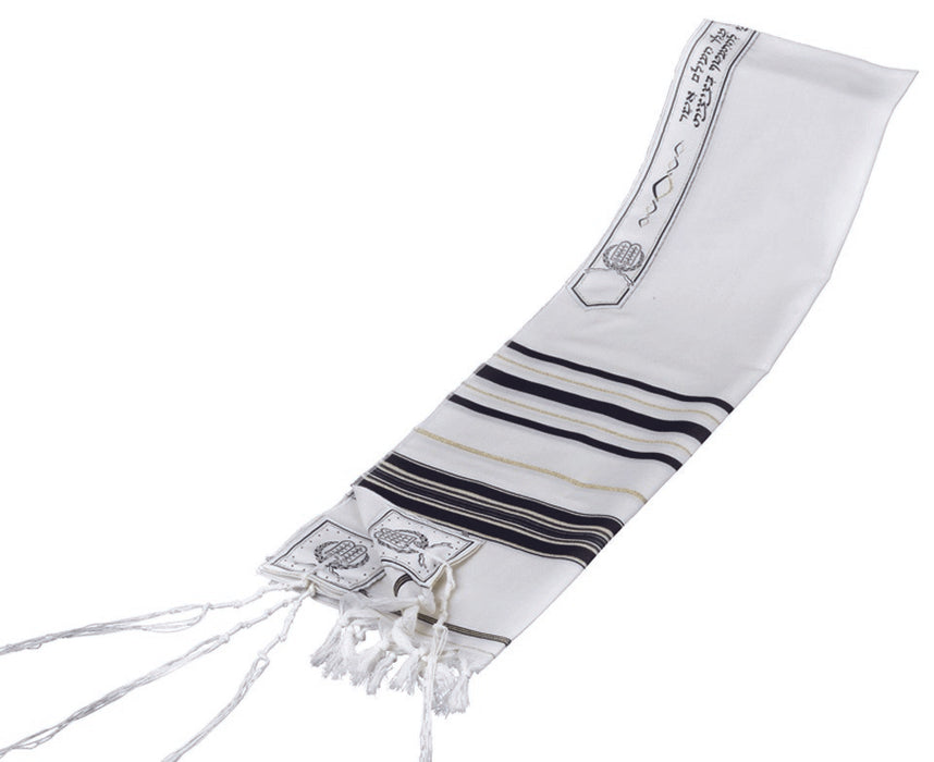 Black and Gold Stripes Classic Tallit Talit - Mitzvahland.com All your Judaica Needs!