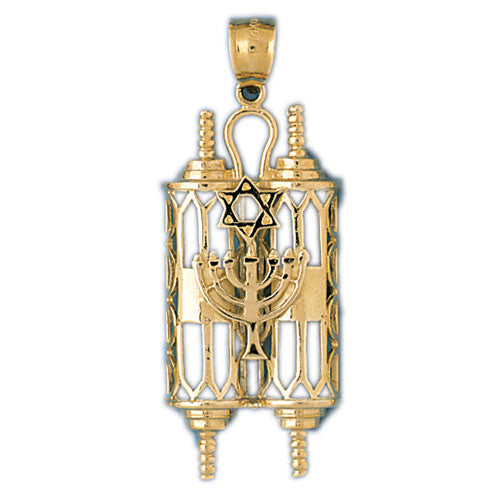 14K Gold Torah w/Menorah & Star Of David Pendant Jewelry - Mitzvahland.com All your Judaica Needs!