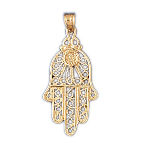 14K Gold Hamsa Hand Protection Pendant Jewelry - Mitzvahland.com All your Judaica Needs!