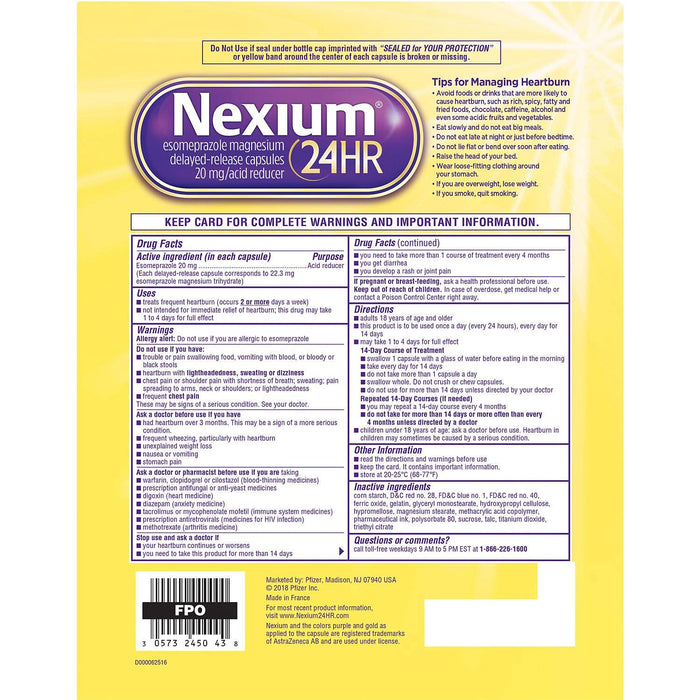 Nexium 24 Hr Acid Reducer 20 Mg 42 Capsules In 3 Pack, 42 Count