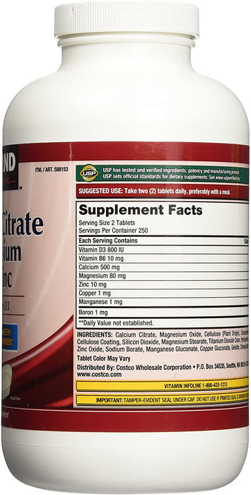 Kirkland Signature Calcium Citrate Magnesium and Zinc - 500 Tablets