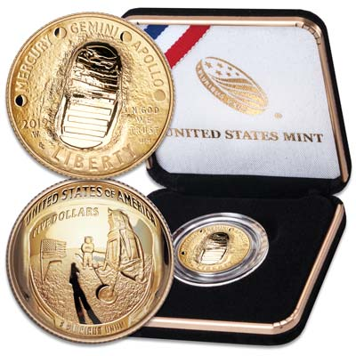 Apollo 11 50th Anniversary $5 Gold Coin - Moon Landing  - West Point