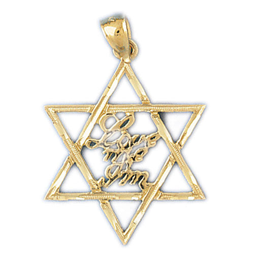 "14K Gold Star of David ""Love Me I'm"" Jewish Pendant Jewelry - Mitzvahland.com All your Judaica Needs!"