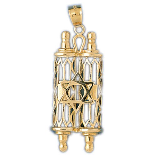 14K Gold Torah Pendant w/Star Of David Jewelry - Mitzvahland.com All your Judaica Needs!