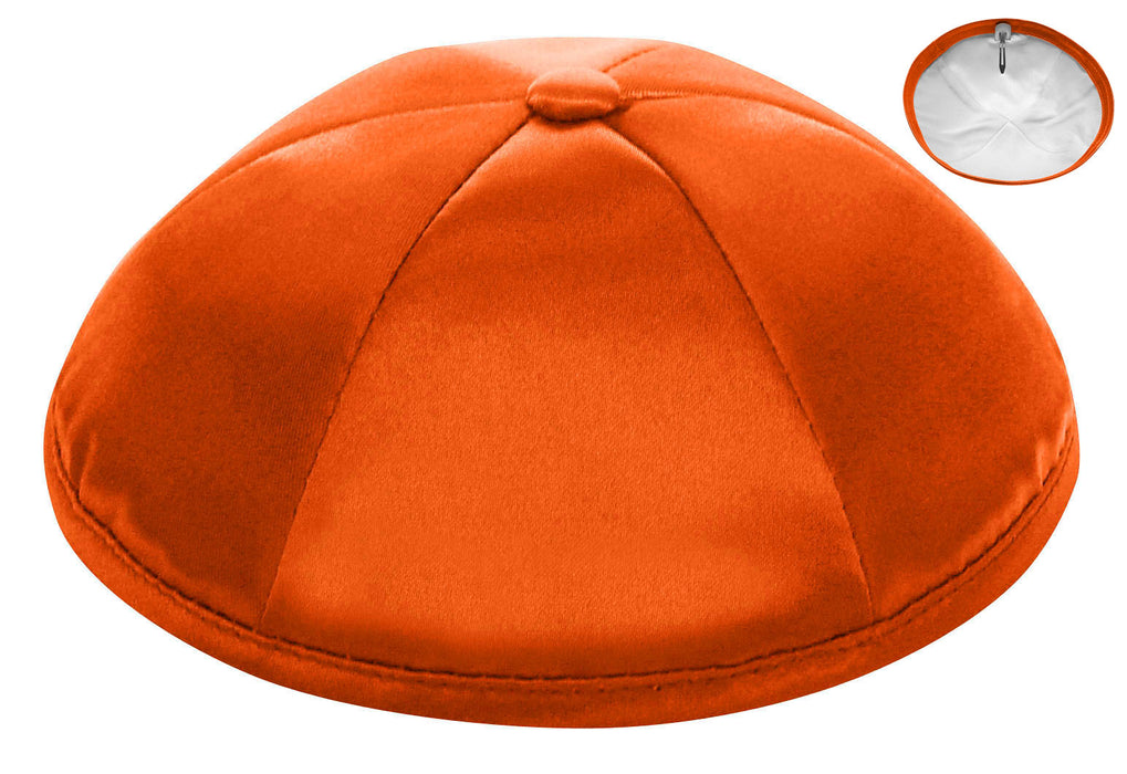 Orange Deluxe Satin Kippah - Per Piece