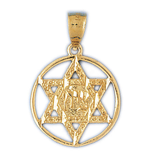 14K Gold Diamond Cut Jewish Star of David Charm Jewelry - Mitzvahland.com All your Judaica Needs!
