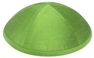 Lime Raw Silk Kippah