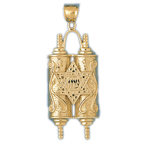 14K Gold Torah w/ Star Of David Pendant Jewelry - Mitzvahland.com All your Judaica Needs!