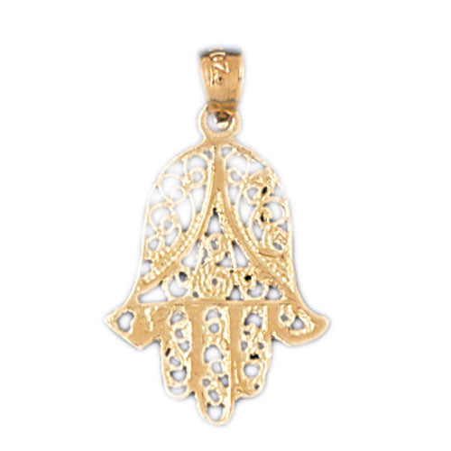 14K Gold Hamsa Protecting Hand Pendant Jewelry - Mitzvahland.com All your Judaica Needs!