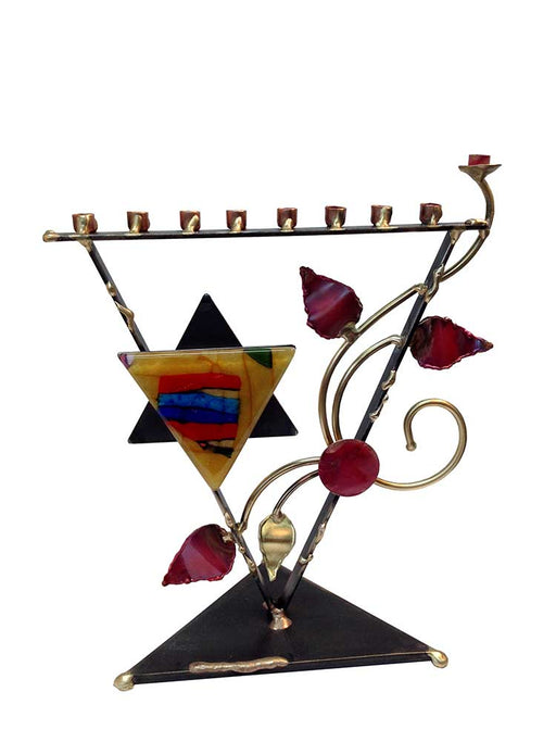 STAINED GLASS MENORAH- HAND MADE