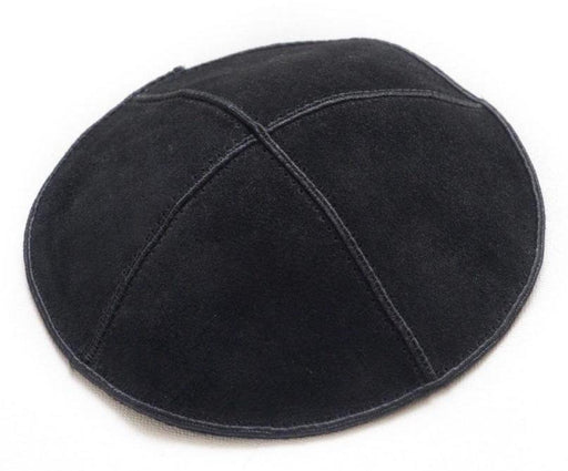 Solid Colored Black Suede Kippah With Black trim and personalize Available for no cost | Mitzvahland.com Your One Stop Judaica Shop