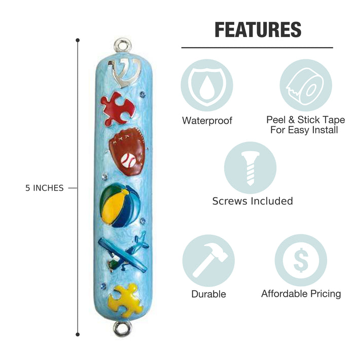 Boy Enameled Mezuzah with Rhinestones