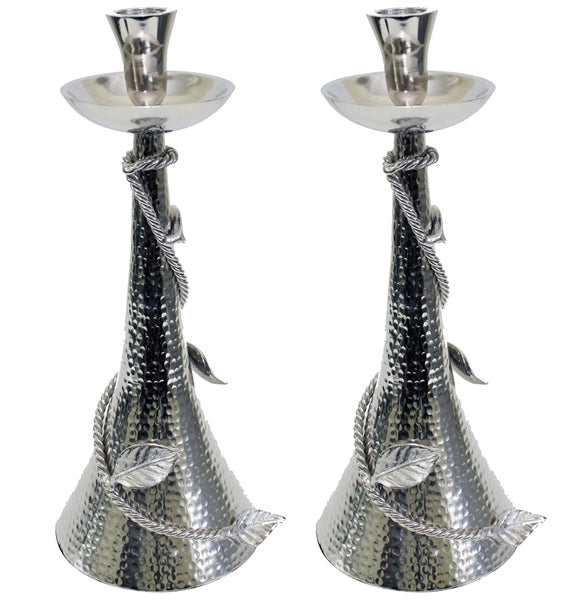Candlestick Hammered With Leaf Silver