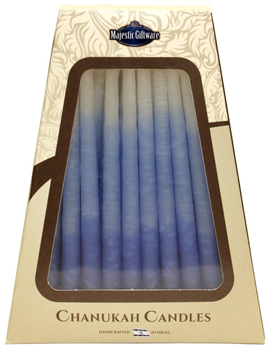 Safed Chanukah Candles - 45 Pack - Blue/White - 6""