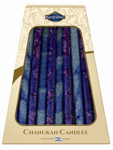 Safed Chanukah Candles - 45 Pack - Blue/Purple - 6""