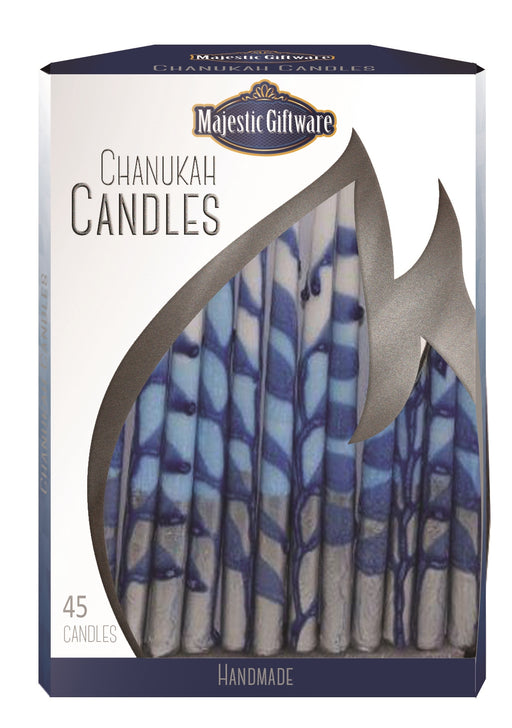 Chanukah Candles - Executive Collection - 45 Pack - Blue/White/Silver  - 6""