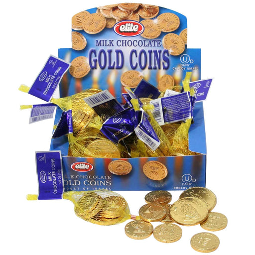Hanukkah Milk Chocolate Gelt Coin Bags - 24ct Box Dairy  - Mitzvahland.com All your Judaica Needs!