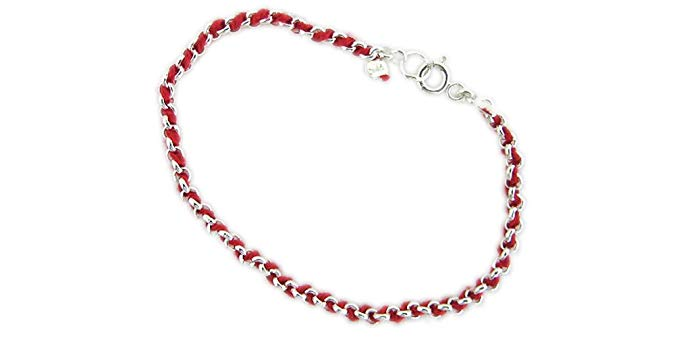 Kabbalah Bracelet Red String From The Holy Land interwoven in a pure 925 Sterling Silver Bracelet