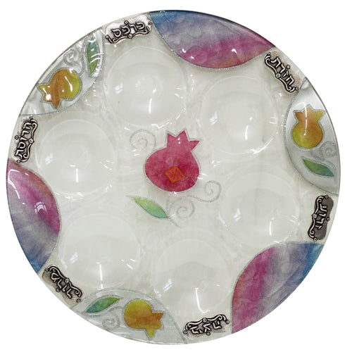 Pomegranate Glass Round Seder Plate