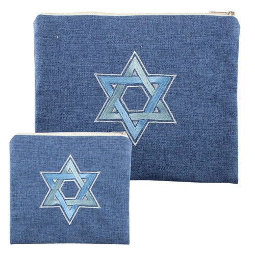 Linen Tallit and Tefillin Bag Set, with Blue Embroidered Star Of David
