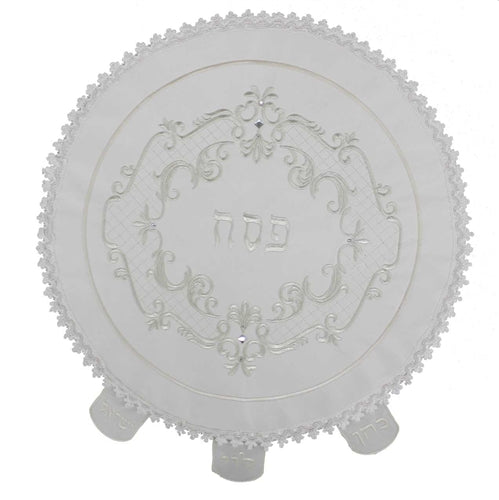 Round Satin Matzah Cover Embroidered