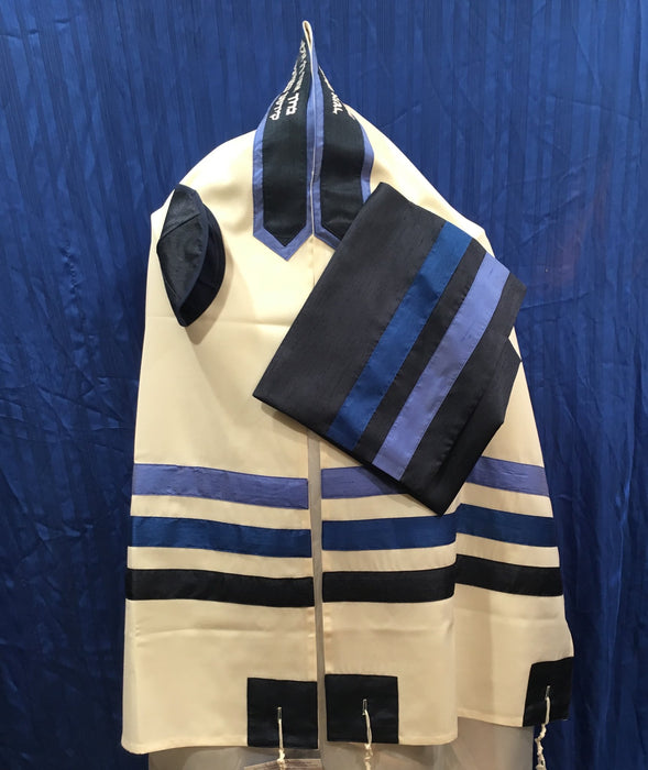 Elegant White Royal Blue - Wool Tallit