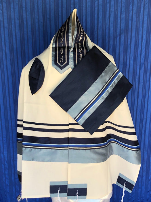 Elegant Detailed Ribbon of Complex Pattern in Blue and Silver Wool Tallit