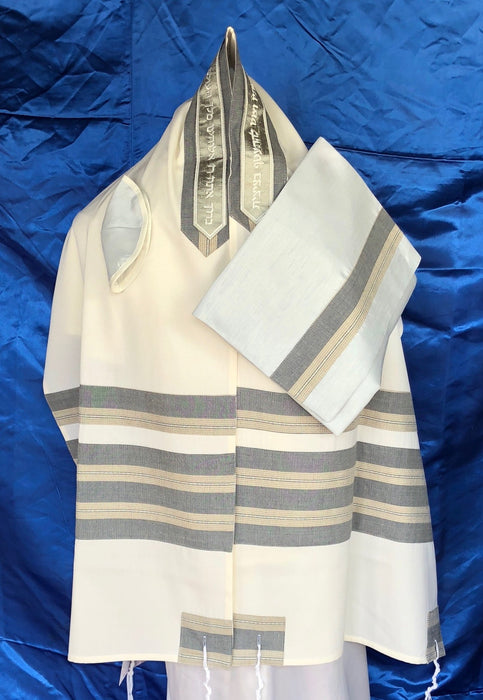 Elegant Grey and Brown Wool Tallit