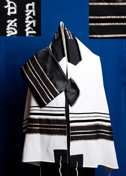 Elegant Black and Champagne pattern White Wool Tallit