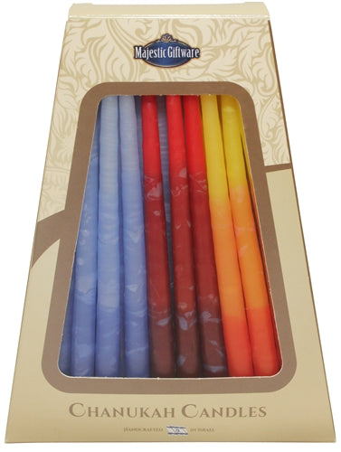 Safed Chanukah Candles - 45 Pack - Blue/Red/Orange