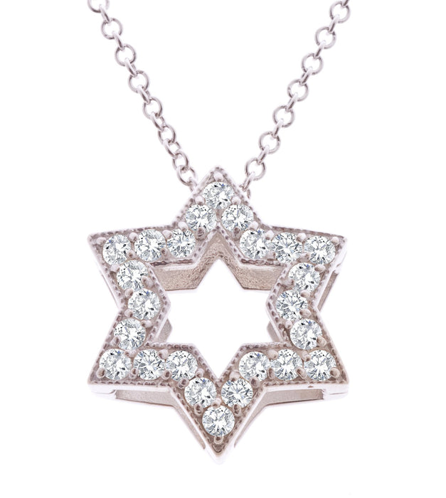 Star of David Outline with Diamonds Pendant