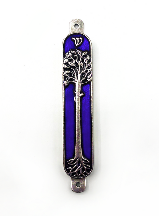 Blue Tree of Life Mezuzah