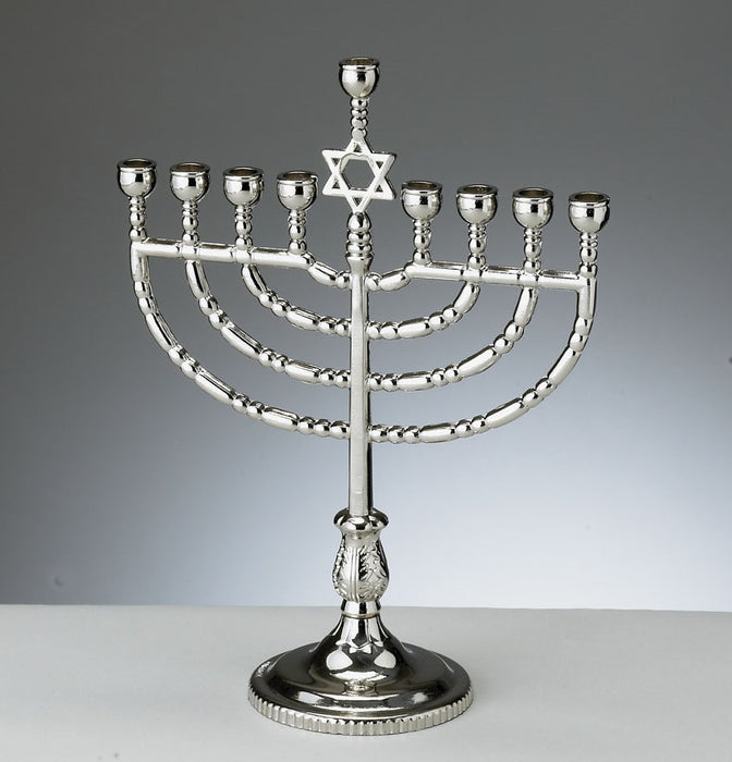 Traditional Menorah - Silver tone Finish