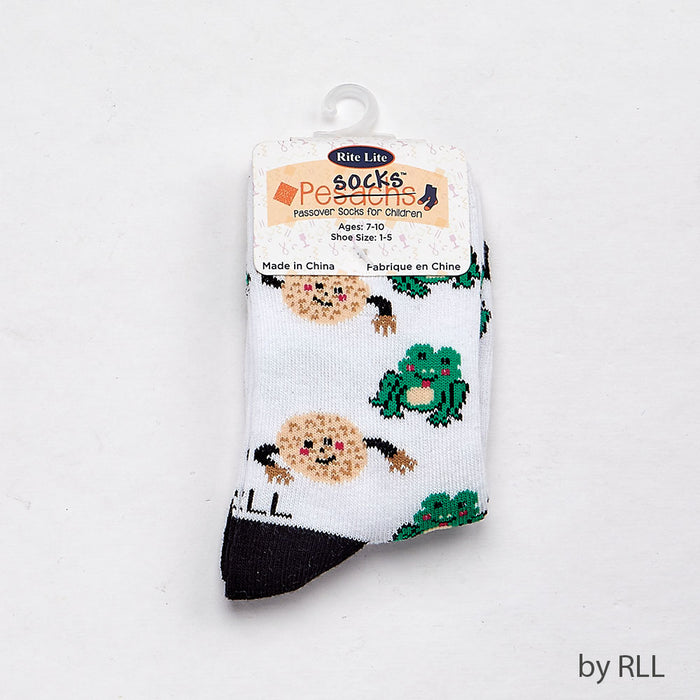 Passover Kids Crew Socks, Frogs and Matzah Balls Design