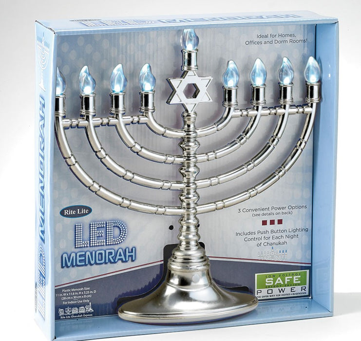 Silvertone LED Electric Menorah