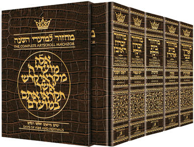 Machzor Set 5 Volume Slipcased Set - Ashkenaz - Alligator Leather