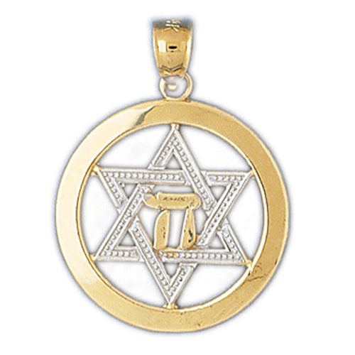 14K Gold Two Color Star of David Jewish Star Pendant