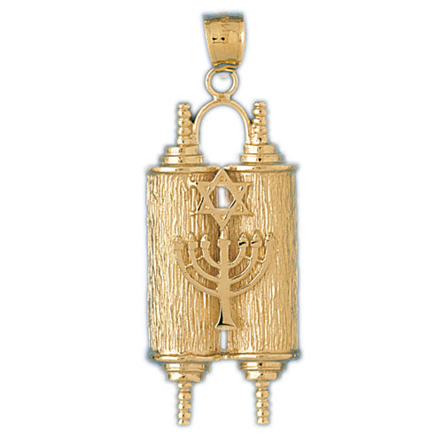 14K Gold Torah Embellished w/Menorah & Jewish Star Pendant Jewelry - Mitzvahland.com All your Judaica Needs!
