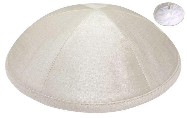 Ivory Raw Silk Kippah Kippot / Yarmulkes - Mitzvahland.com All your Judaica Needs!