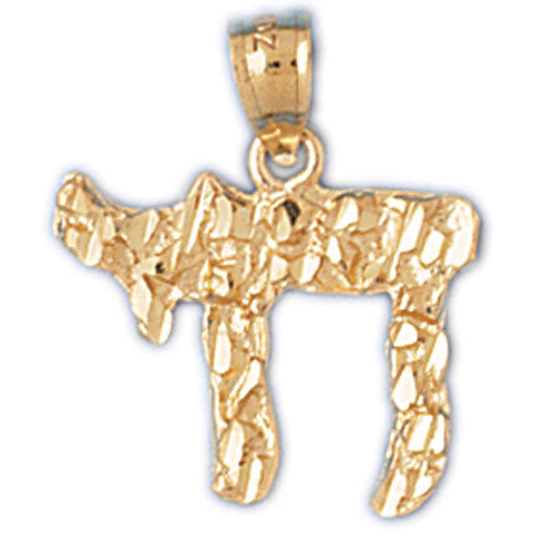 14K Gold Hebrew Jewish Nugget Chai Life Charm Jewelry - Mitzvahland.com All your Judaica Needs!