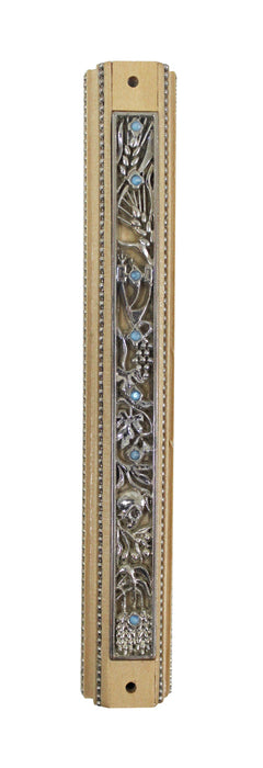 """Seven Species"" Wood & Nickel Plate Mezuzah Mezuzah Free Shipping - Mitzvahland.com All your Judaica Needs!"
