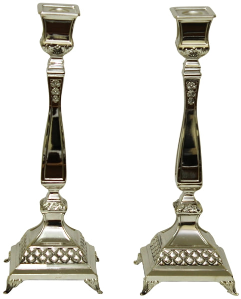 "Candle Sticks Silver Plated  14""H Candlestick Holders - Mitzvahland.com All your Judaica Needs!"