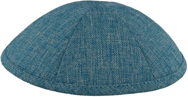 Burlap Kippah Turquoise  - Mitzvahland.com All your Judaica Needs!