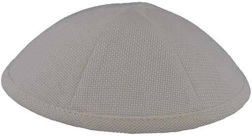 Burlap Kippah White  - Mitzvahland.com All your Judaica Needs!