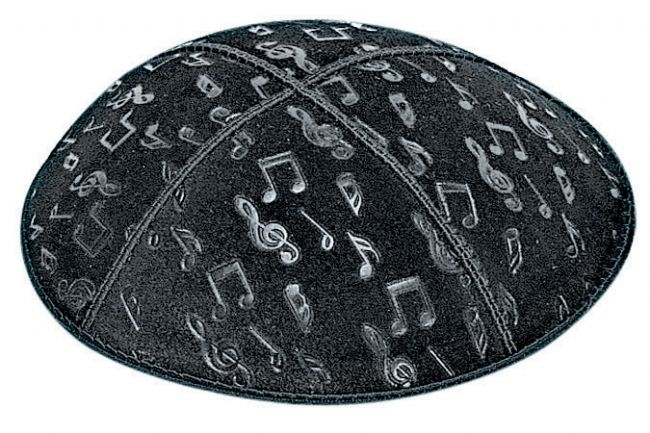 Musical Notes Embossed Kippah